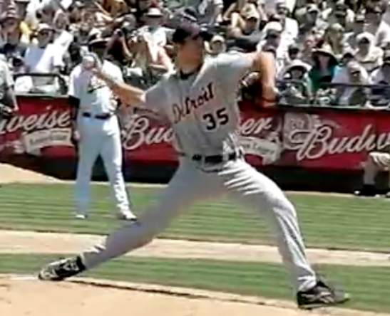 Notice the elbow and wrist position as his lead foot makes contact
